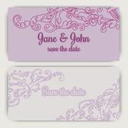 Wedding invitation cards in pink color Stock Illustration
