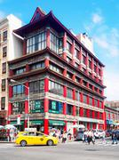 Traditional chinese architecture at Chinatown in New York City Stock Photos