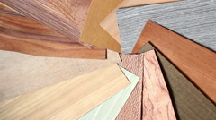 Samples of veneer on the table. Stock Footage