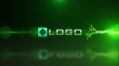 Stock After Effects of Toxic Green Neon Glow Electric Particle Light Streak Logo Reveal Hi-Tech Intro