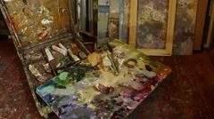 The Living Art Room Studio Space. Tilt up Stock Footage