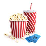 Cola Popcorn And Tickets Stock Illustration