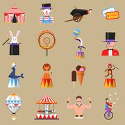 Circus retro flat icons set print - stock illustration