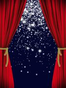 Red starry curtain - stock illustration