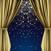 Golden starry curtain - stock illustration