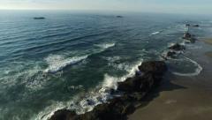 Horizontal pan shot of the wave on Oregon Coast Stock Footage