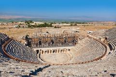 Amphitheater ruins at Pamukkale Turkey - stock photo