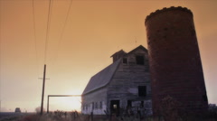 Decayed Barn and Silo Stock Footage