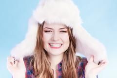 Young woman in wintertime. - stock photo
