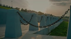 Massive chain links, fence embankment Stock Footage