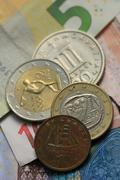 Greek and euro money - stock photo