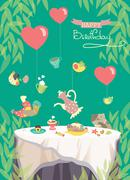 Birthday party card, cute birds and table with festive meal Stock Illustration