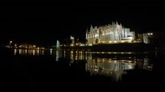 Cathedral during evening, Mallorca Stock Footage
