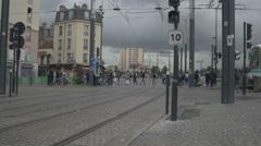 Paris St. Denis tramway Stock Footage