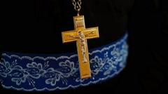 Orthodox cross on the chest of the priest Stock Footage