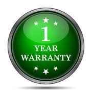 Stock Illustration of 1 year warranty icon. Internet button on white background..