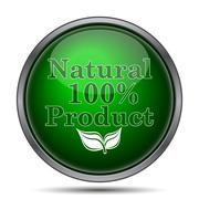 Stock Illustration of 100 percent natural product icon. Internet button on white background..