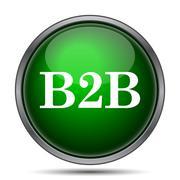 B2B icon. Internet button on white background.. Stock Illustration
