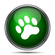 Stock Illustration of Paw print icon. Internet button on white background..