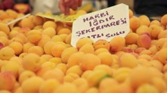 Fresh Igdir apricots on market at the biggest and most crowded bazaar in Izmir. Stock Footage