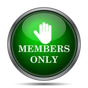 Members only icon. Internet button on white background.. Stock Illustration