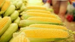 Fresh Corns at bazaar in Izmir, Bostanli - Karsiyaka Stock Footage