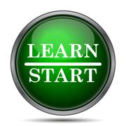 Stock Illustration of Start learn icon. Internet button on white background..