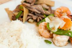 asian food with shrimp - stock photo