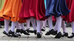 Traditional folk Irish dance - feet close up - stock footage