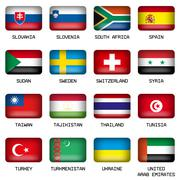 Set of Rectangle World Top States Flags Stock Illustration