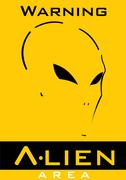 Alien. Alien face. Alien head., Alien area sign. Stock Illustration