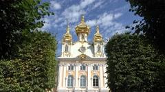 The Grand Palace (in 4k), Peterhof Palace, Petergof, St Petersburg, Russia. Stock Footage