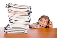Office employee at work table with documents isolated on white Stock Photos