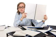 Office employee at work table isolated on white Stock Photos