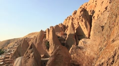 Kandovan, Iran - rock  mountin cave homes - stock footage