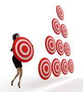 3d woman holding target board and lot of targets boards near by concept - stock illustration