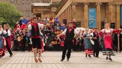 Traditional folk italian dance tarantella, pizzica Stock Footage