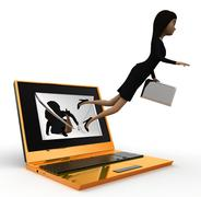 3d woman coming out from laptop receiving online mail concept - stock illustration