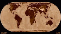 Animated world map in the Eckert IV projection. Luminance blending. Stock Footage