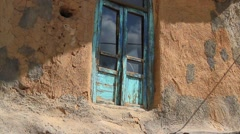Old blue wooden window Stock Footage