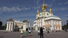 The Grand Palace (in 4k), Peterhof Palace, Petergof, St Petersburg, Russia. Stock Footage