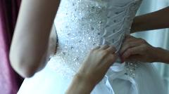 The bride wears a dress Stock Footage