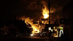 City core involve in fire and smoke at night during rail disaster - stock footage