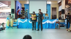 Police teach traffic rules, Scout Camp in Pieamsuwan school Bangkok Thailand. Stock Footage