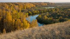 River landscape. Field landscape. Russian siberian nature. Autumn landscape. Stock Footage
