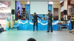 Police teach traffic rules, Scout Camp in Pieamsuwan school Bangkok Thailand. - stock footage