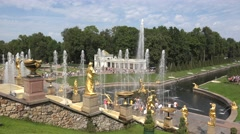 The Grand Cascade (in 4k), Peterhof Palace, Petergof, St Petersburg, Russia. Stock Footage