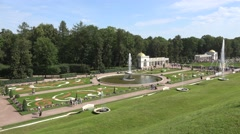 The Grand Palace gardens & fountains (in 4k), Peterhof, St Petersburg, Russia. Stock Footage