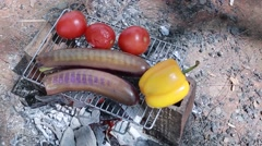 Grilled vegetables. Eggplant, peppers and tomatoes. - stock footage