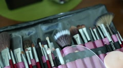 Brushes make-up artist Stock Footage